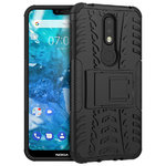Dual Layer Rugged Tough Case & Stand for Nokia 7.1 - Black